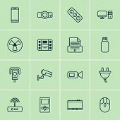 Hardware Icons Set With Plug, Smartphone, Room Fan And Other Socket Elements. Isolated Vector Illust poster
