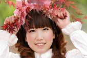 image of lolita  - japanese lolita portrait in park during fall season - JPG