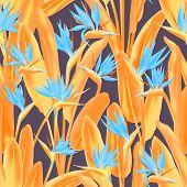 Bird Of Paradise Tropical Flower Vector Seamless Pattern. Bohemian Tropical Plant Fabric Print Desig poster