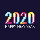 2020 Colorful Text Isolated On Black Background, New Year 2020, 2020 Text For Calendar New Years, Ha poster