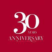 30 Years Anniversary Vector Logo, Icon. Design Element With Number For 30th Anniversary poster