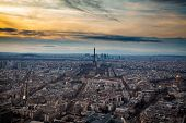 Skyline of Paris with Eiffel Tower at sunset in Paris, France. Eiffel Tower is one of the most iconi poster