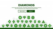 Diamonds, Gems Vector Thin Line Icons Set. Diamonds, Gems Cutting Types Linear Pictograms. Precious  poster