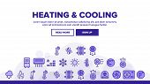 Heating And Cooling System Vector Linear Icons Set. Heating And Cooling Air Conditioning Outline Sym poster