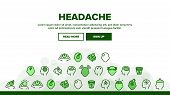 Collection Headache Elements Icons Set Vector Thin Line. Migraine Brain, Tension And Cluster Headach poster