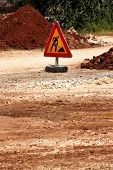 Road Works Sign For Construction Works, Road, Pavement Construction. Traffic, Warning Sign Road Repa poster