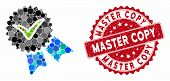 Mosaic Quality Badge And Rubber Stamp Seal With Master Copy Text. Mosaic Vector Is Created From Qual poster