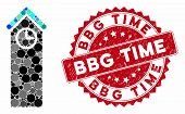 Mosaic Time Tower And Corroded Stamp Seal With Bbg Time Caption. Mosaic Vector Is Composed With Time poster