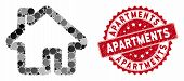 Mosaic Home And Distressed Stamp Seal With Apartments Caption. Mosaic Vector Is Composed With Home I poster