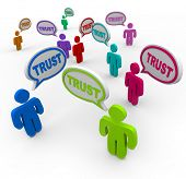 pic of loyalty  - Many people of different colors say the word Trust in speech bubbles to symbolize faith - JPG
