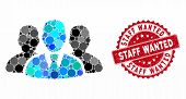 Mosaic User Group And Grunge Stamp Seal With Staff Wanted Phrase. Mosaic Vector Is Formed With User  poster