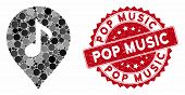 Mosaic Music Marker And Rubber Stamp Seal With Pop Music Phrase. Mosaic Vector Is Created With Music poster