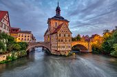 The Historic Old Town Hall Of Bamberg In Bavaria, Germany At Dawn poster