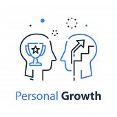 Human Head Profile And Cup, Growth Motivation Concept, Leadership Training Course, Employee Of The M poster