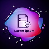 Purple Line Document With Minus Icon Isolated On Dark Blue Background. Clear Document. Remove File D poster