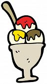 image of ice cream sundae  - cartoon ice cream dessert - JPG