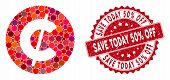 Mosaic Cent Coin And Corroded Stamp Seal With Save Today 50 Percent Off Phrase. Mosaic Vector Is Cre poster