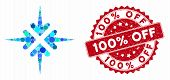 Mosaic Impact Arrows And Grunge Stamp Seal With 100 Percent Off Text. Mosaic Vector Is Created With  poster