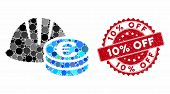 Collage Helmet And Euro Coins And Rubber Stamp Seal With 10 Percent Off Phrase. Mosaic Vector Is Cre poster