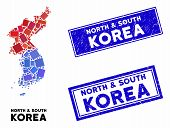 Mosaic North And South Korea Map And Rectangle Stamps. Flat Vector North And South Korea Map Mosaic  poster