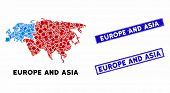 Mosaic Europe And Asia Map And Rectangular Seals. Flat Vector Europe And Asia Map Mosaic Of Randomiz poster
