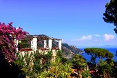 Picturesque View On See And Mountains From Villa Rufolo Garden In Ravello. Summer Landscape, South I poster
