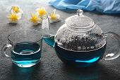 Healthy Blue Butterfly Pea Tea From Flowers Clitoria Ternatea Plant Or Asian Pigeon Wings . Detox, A poster