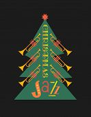 Christmass Jazz Trumpets Tree Hand Drawn Flat Color Vector Icon. Christmas Jazz Fancy Lettering. Win poster