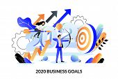 Business Goals, Strategy And Future Achievement Plan For 2020 New Year. Vector Flat Cartoon Illustra poster