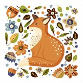 Cartoon Fox Cute Vector Illustration. Forest Clever Funny Animal Square Card With Ornate Botanical F poster