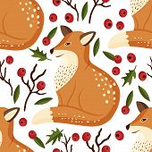 Cartoon Fox Cute Vector Illustration, Forest Clever Funny Animal Seamless Pattern. poster