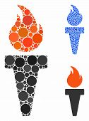 Torch Fire Mosaic Of Filled Circles In Variable Sizes And Color Tones, Based On Torch Fire Icon. Vec poster