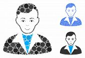 Guy Mosaic Of Round Dots In Various Sizes And Shades, Based On Guy Icon. Vector Round Dots Are Compo poster