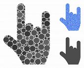 Rock Gesture Mosaic Of Round Dots In Different Sizes And Color Tints, Based On Rock Gesture Icon. Ve poster