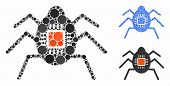 Spy Bug Mosaic Of Round Dots In Various Sizes And Color Tints, Based On Spy Bug Icon. Vector Round D poster