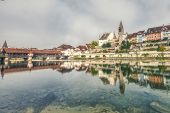 Hdr Of The Old City Of Bremgarten With Old Wooden Bridge, Switzerland poster