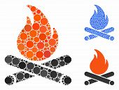Campfire Mosaic Of Circle Elements In Various Sizes And Color Hues, Based On Campfire Icon. Vector C poster