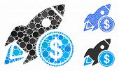 Dollar Rocket Mosaic Of Round Dots In Various Sizes And Color Hues, Based On Dollar Rocket Icon. Vec poster