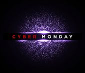 Cyber Monday Digital Background. Sale Flyer Or Banner Design Template. Vector Illustration Of Neon L poster