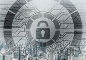 Global Cybersecurity Mixed Media With Virtual Locking Padlock On Cityscape Background. Data Cryptogr poster
