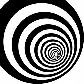 Illistration Of Concentric Circles In A Pattern. Black And White Design With Optical Illusion. Abstr poster