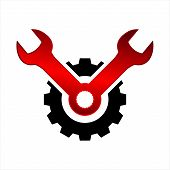 Wrench And Gear Isolated Icon On White Background. Wrench And Gear A Simple Sign Icon. Wrench And Ge poster