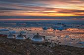 Sunset Over Disko Bay, Greenland. It Is The Largest Open Bay In Western Greenland, Measuring 150 Km  poster