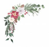 Watercolor Christmas Bouquet Arrangement With Roses Fir Branches Berries Green Leaves Plant Herb Win poster
