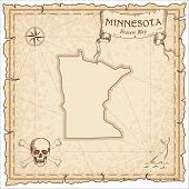 Minnesota Pirate Map. Ancient Style Map Template. Old Us State Borders. Vector Illustration. poster