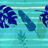 Sailor Stripes Vector Seamless Pattern, Blue Pink Purple Indigo Floral Textile. Cool Chick Jungle Le poster