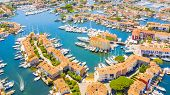 View Of Colorful Houses And Boats In Port Grimaud During Summer Day-port Grimaud poster