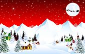 Winter Rural Landscape. Christmas Eve Night. Mountain Village. Snow, Forest, Mountains. Shining Star poster