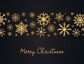Christmas Background With Glitter Gold Snowflakes And Hand Lettering. Shining Tape With Golden Snowf poster