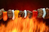 pic of kababs  - A delicious steak kabob grilling over an open flame - JPG